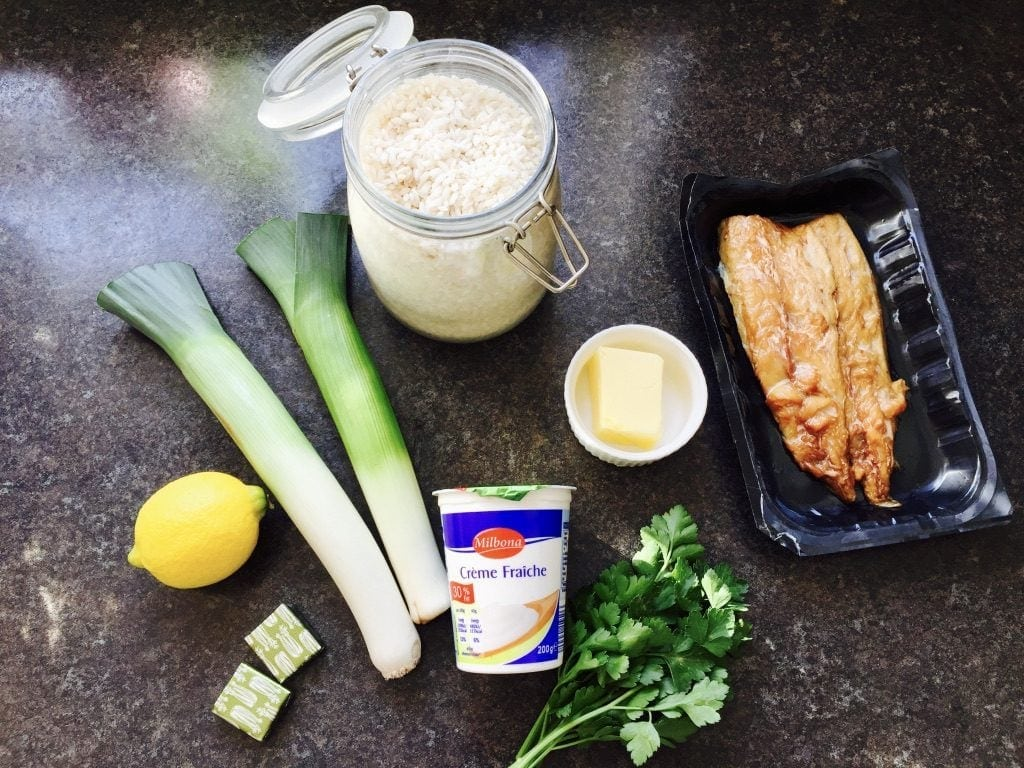 Ingredients for Smoked Mackerel Risotto.