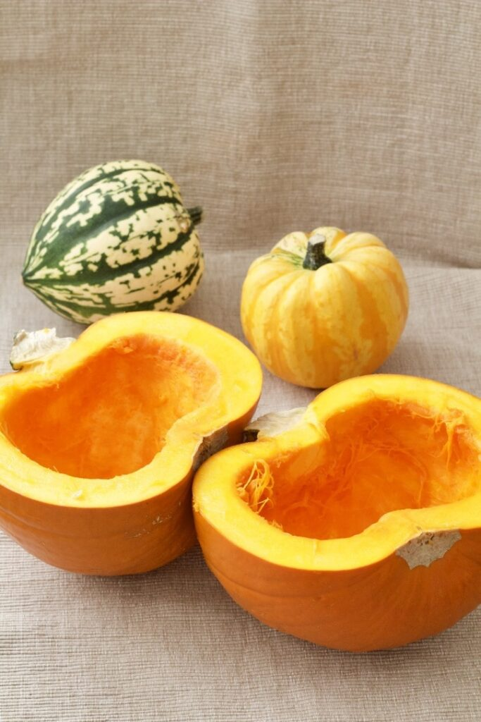Hollowed out pumpkin halves.