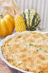 Baked macaroni cheese & squashes in the background.