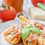 Serving of Baked Spinach & Ricotta Pasta Shells on a plate.