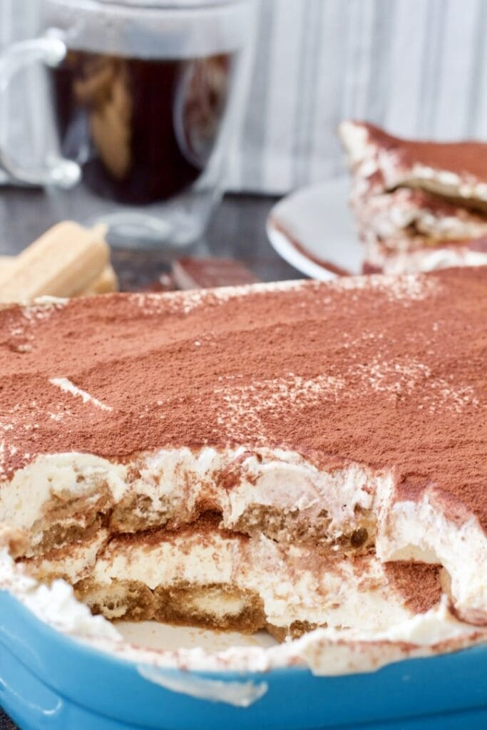 Easy Eggless Tiramisu - close up of Tiramisu in a dish