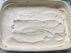 Easy Eggless Tiramisu - first layer of mascarpone cream