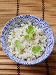 Bowl of garnished Easy Indian Rice.
