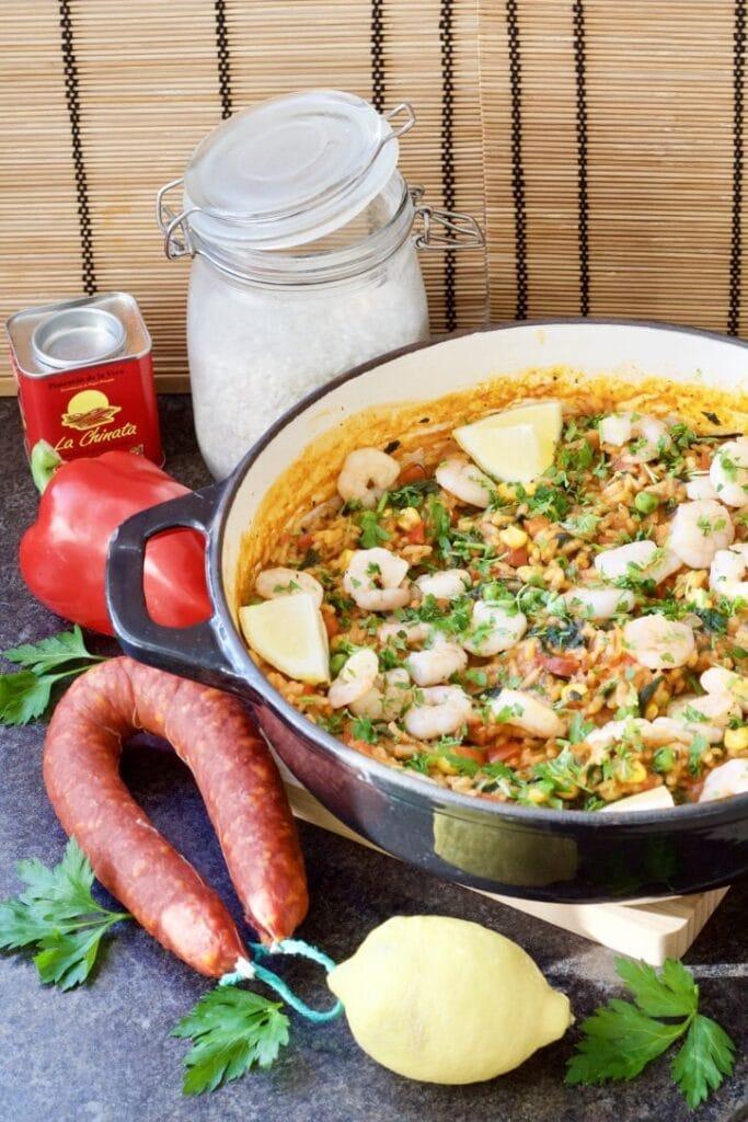Easy Prawn & Chorizo Cheat's Paella