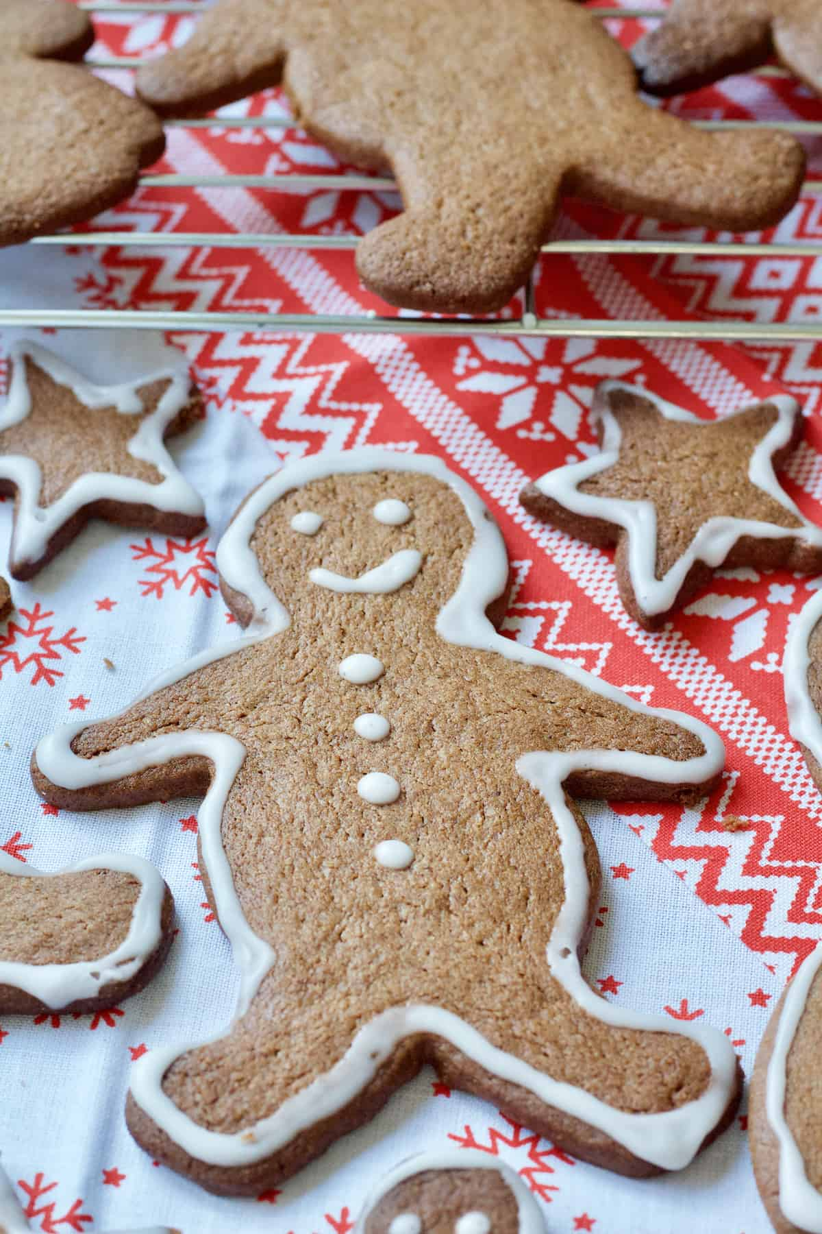 Iced gingerbread man biscuit.
