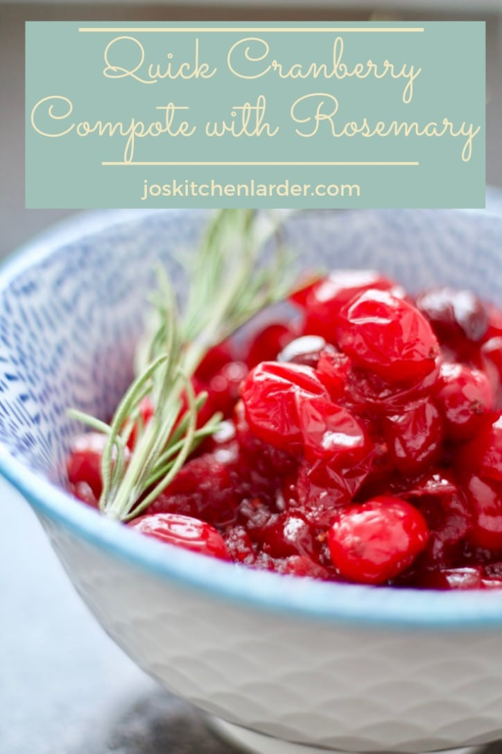 Super easy, super versatile this Quick Cranberry Compote with Rosemary is not only for Christmas! Pair it with cold meats or roasts for savoury fare or try on pancakes or with ice cream for a delightful treat! #cranberrysauce #cranberrycompote #Christmas #sidedish #Thanksgiving #cranberries #rosemary