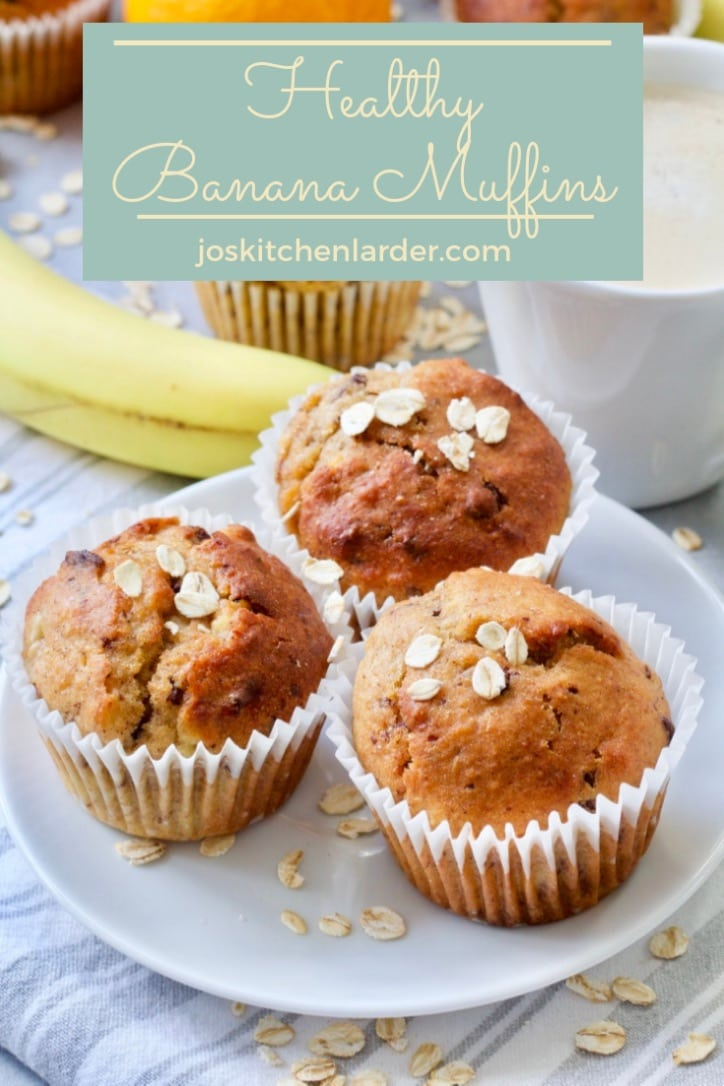 These Healthy Banana Muffins are perfect breakfast on the go, quick and easy to make, moist & delicious. Add some chocolate chips for more indulgent treat. #bananamuffins #healthytreat #breakfastonthego #chocolate