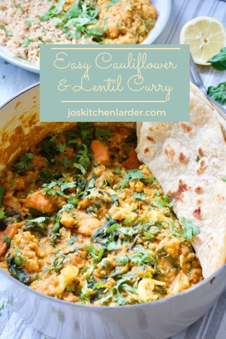This Easy Cauliflower & Lentil Curry is the perfect meat-free, midweek family feast. Delicious, filling & fuss-free it is packed with veggie goodness.  #midweekmeal #veggiecurry #meatfree #vegancurry #cauliflowercurry #lentilcurry #easycurry #dhal