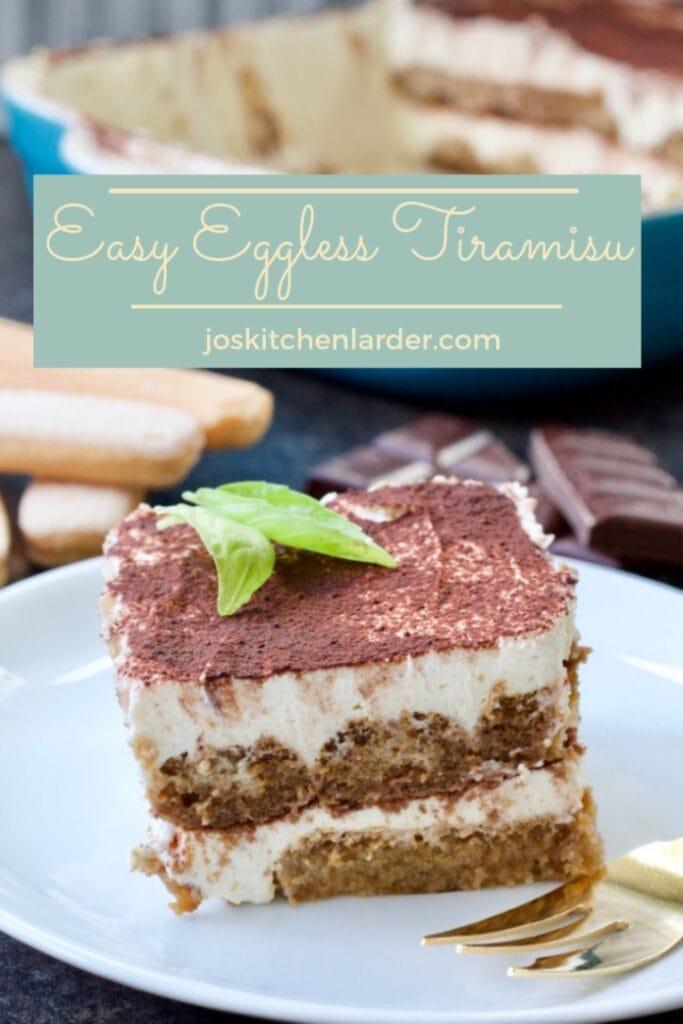 Easy Eggless Tiramisu - slice on a plate