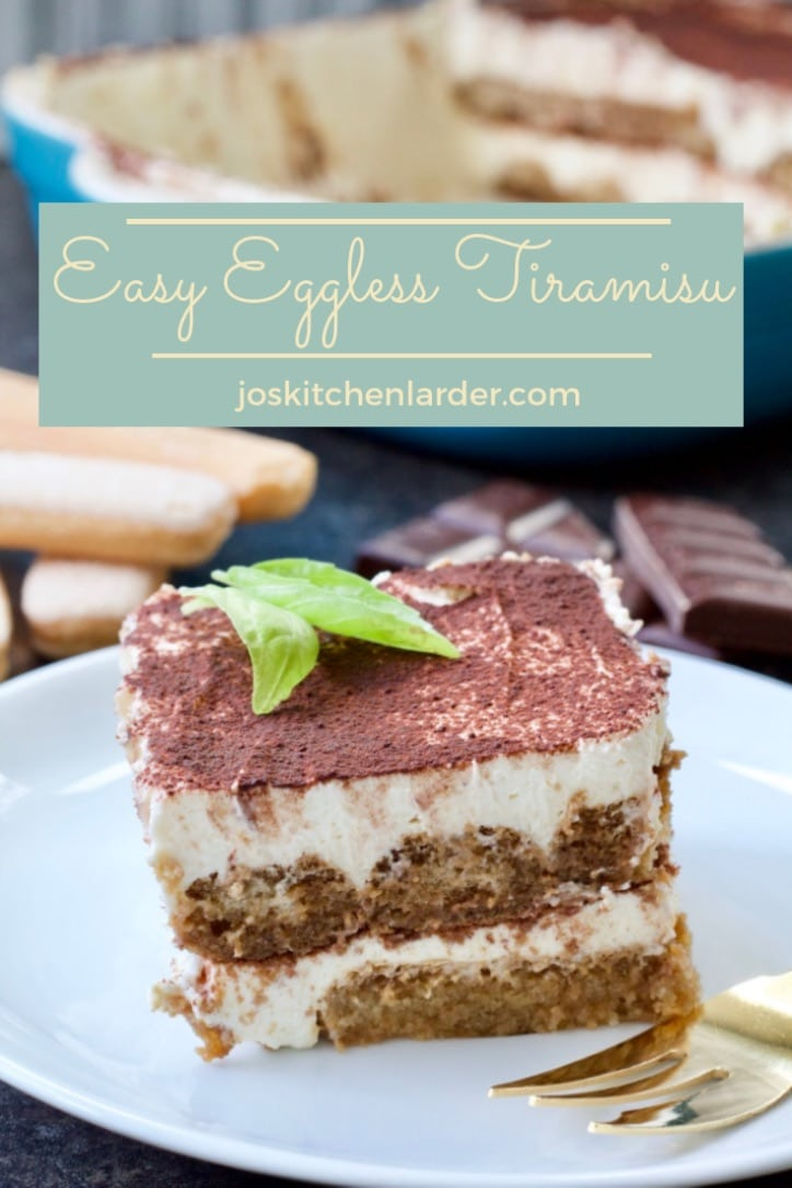 This Easy Eggless Tiramisu is a take on Italian classic and would make perfect dessert for any special occasion! Layers of coffee soaked biscuits & wonderful mascarpone cream with coffee liqueur - make-ahead and no-bake dessert heaven.  #eggless #tiramisu #easy #dessert #makeahead #nobake #specialoccasion #valentinesday