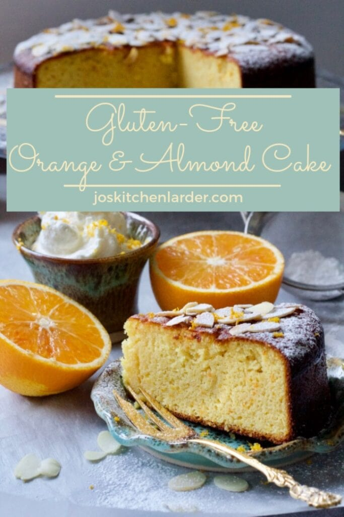 Gluten-Free Orange and Almond Cake slice with cake in the background PIN