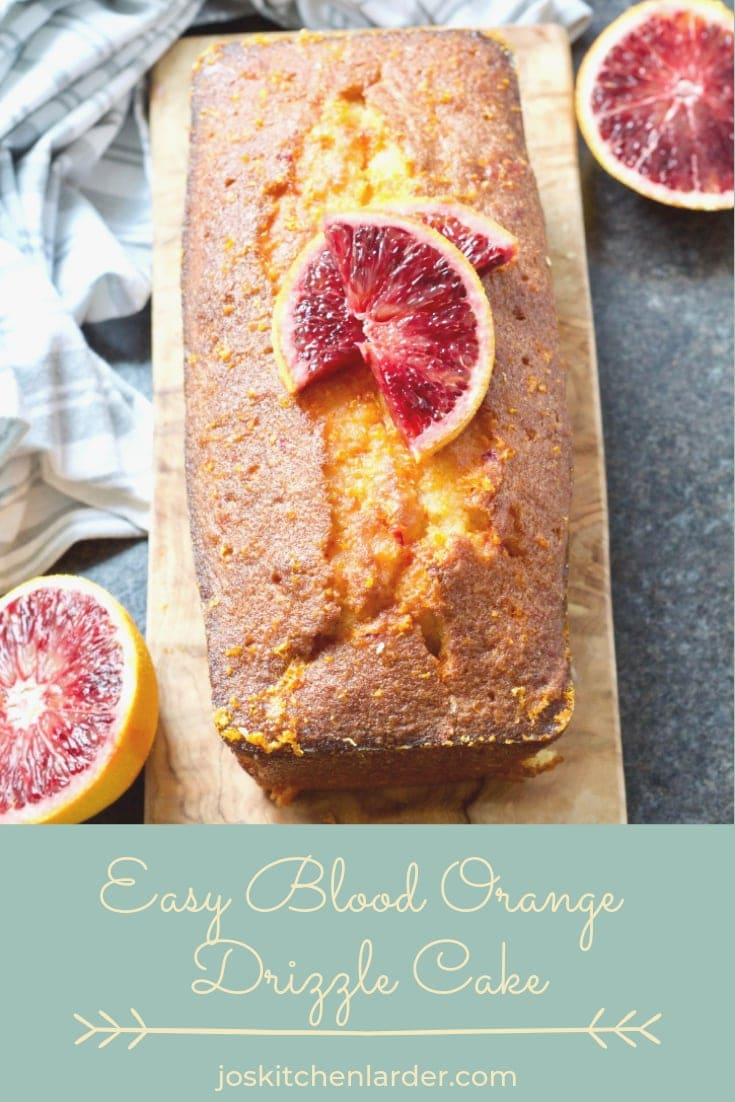 This Easy Blood Orange Drizzle Cake is a twist on a classic lemon favourite. It is super simple to make, uses only handful of ingredients and is wonderfully tangy and moist. Perfect dessert or accompaniment to afternoon tea! #bloodorangecake #drizzlecake #orangecake #bloodoranges