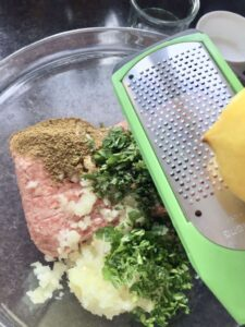 Easy Lamb Kofta Meatballs - adding lemon zest to meat mixture
