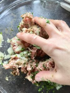 Easy Lamb Kofta Meatballs - meat mixing process by hand