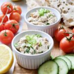 Smoked Mackerel Pate - pate served in ramekins with sliced cucumbers and cherry tomatoes around