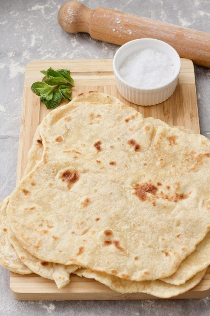 Easy Flatbread (No Yeast) on wooden board