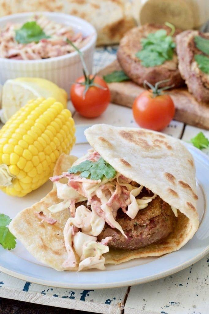 Easy Flatbread (No Yeast) with falafel burgers