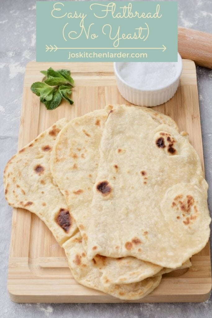 Easy Flatbread (No Yeast) on the wooden board with some salt