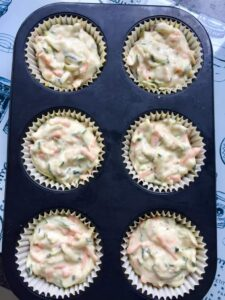 Cheesy Carrot & Courgette Savoury Muffins ready for the oven