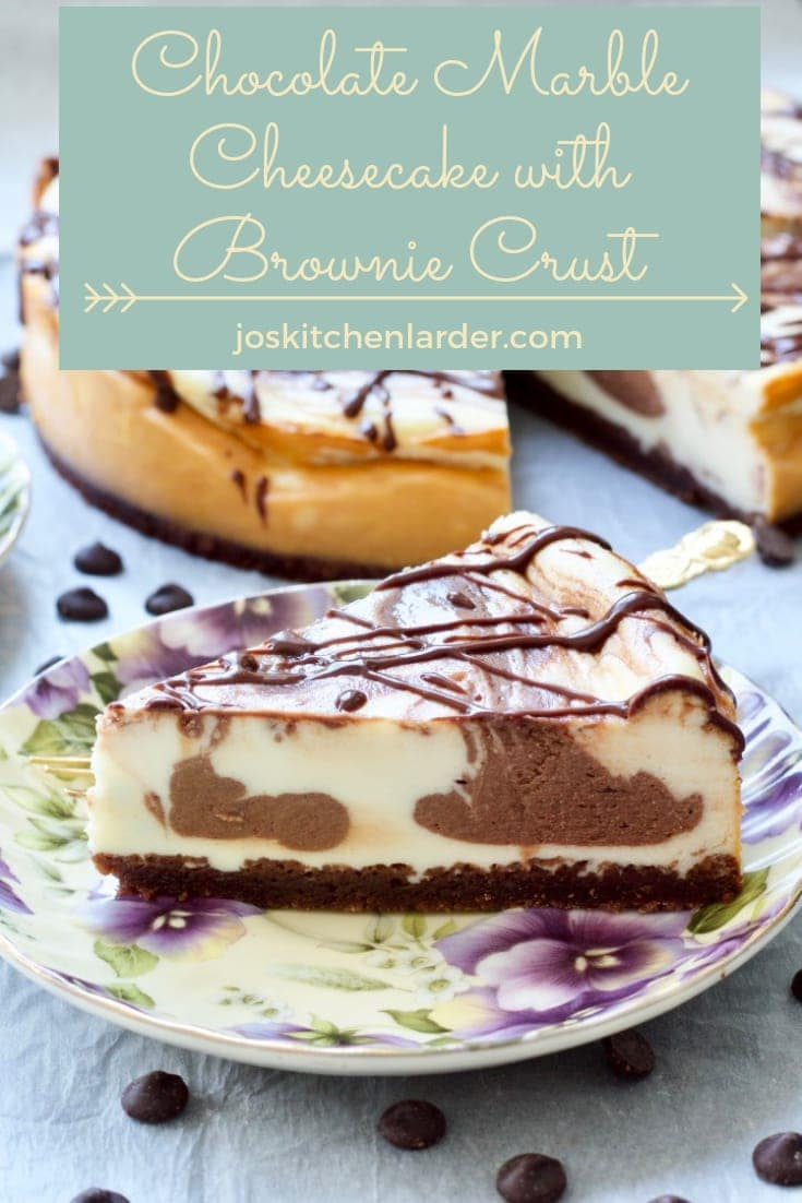 Baked Chocolate Marble Cheesecake with Brownie Crust is a perfect dessert for any occasion. Beautifully creamy it will satisfy both chocolate & vanilla fans with brownie crust adding another layer of indulgence. #bakedcheesecake #chocolatecheesecake #browniecrust #browniebottom #marblecheesecake