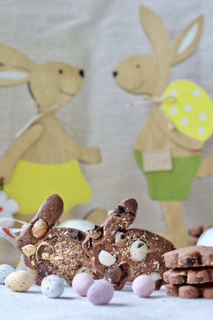2 Chocolate Shortbread Cookies with Mini Eggs bunnies