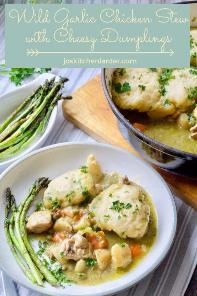 Wild Garlic Chicken Stew with Cheesy Dumplings & asparagus