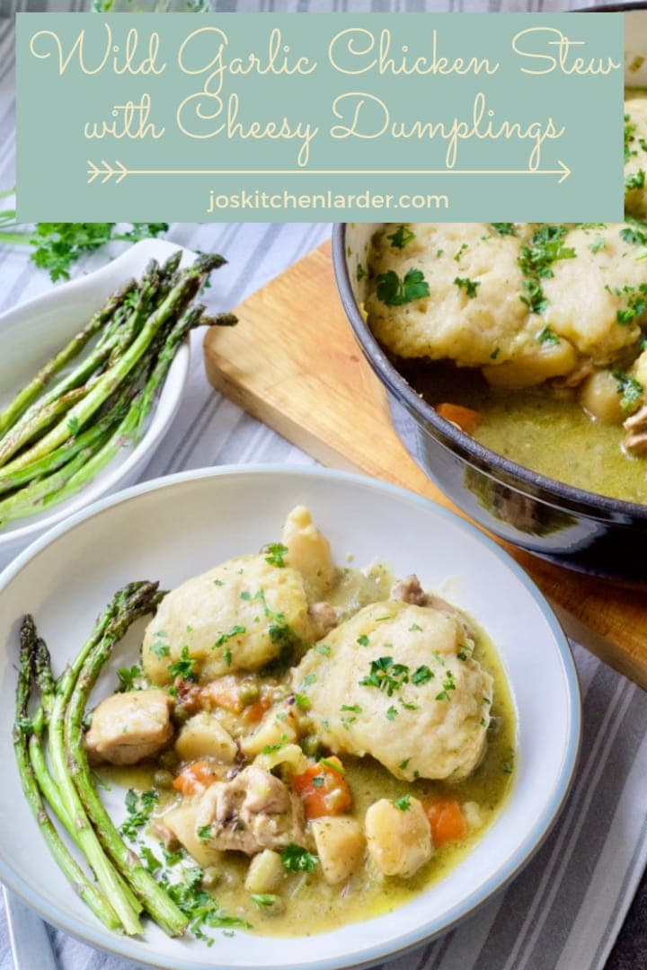 This Wild Garlic Chicken Stew with Cheesy Dumplings is packed full of veg & uses delicious and seasonal wild garlic pesto. Wholesome, tasty, full of flavour! #chickenstew #dumplings #wildgarlic #pesto #chickencasserole #onepan #onepot