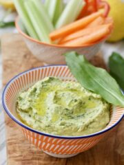Wild Garlic Hummus in a bowl close up