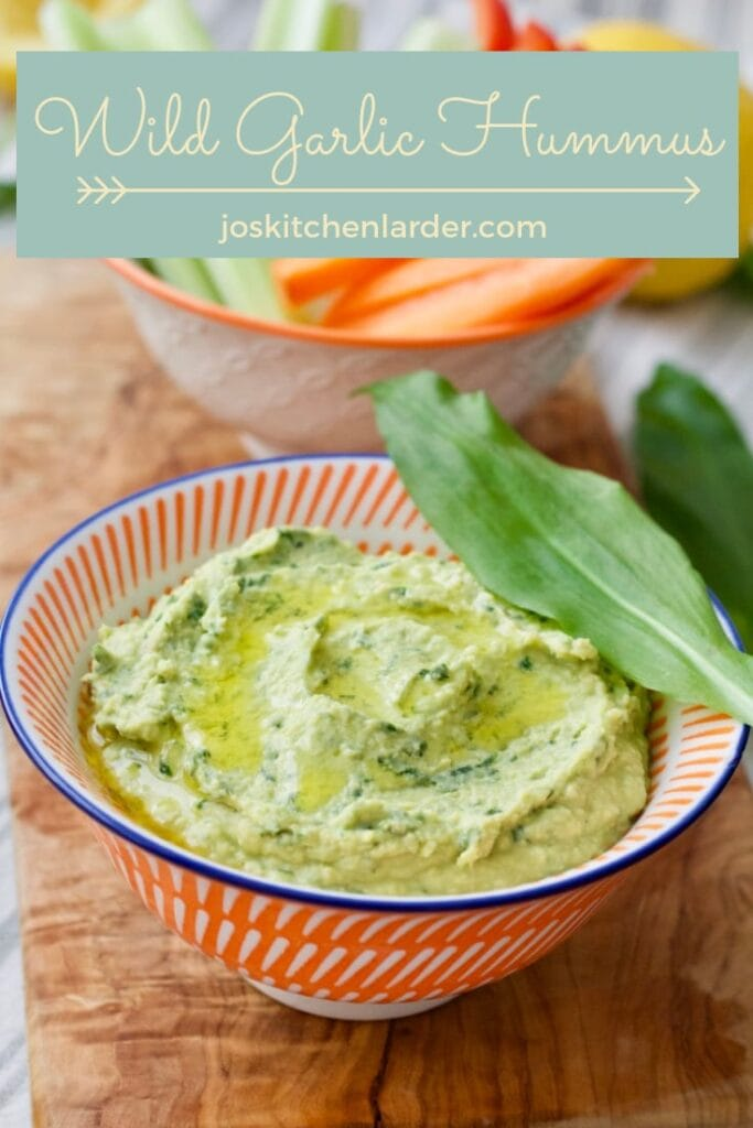 Wild Garlic Hummus in a bowl close up