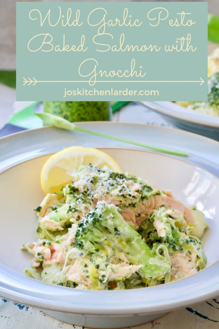 Wild Garlic Pesto Baked Salmon with Gnocchi couldn\'t be easier & quicker to make. Filling & wholesome, this seasonal dinner is ready in under half an hour! #wildgarlic #pesto #gnocchi #pasta #bakedsalmon #easyrecipe #midweekmeal #seasonalfood