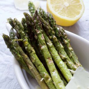 roasted asparagus in a dish close up