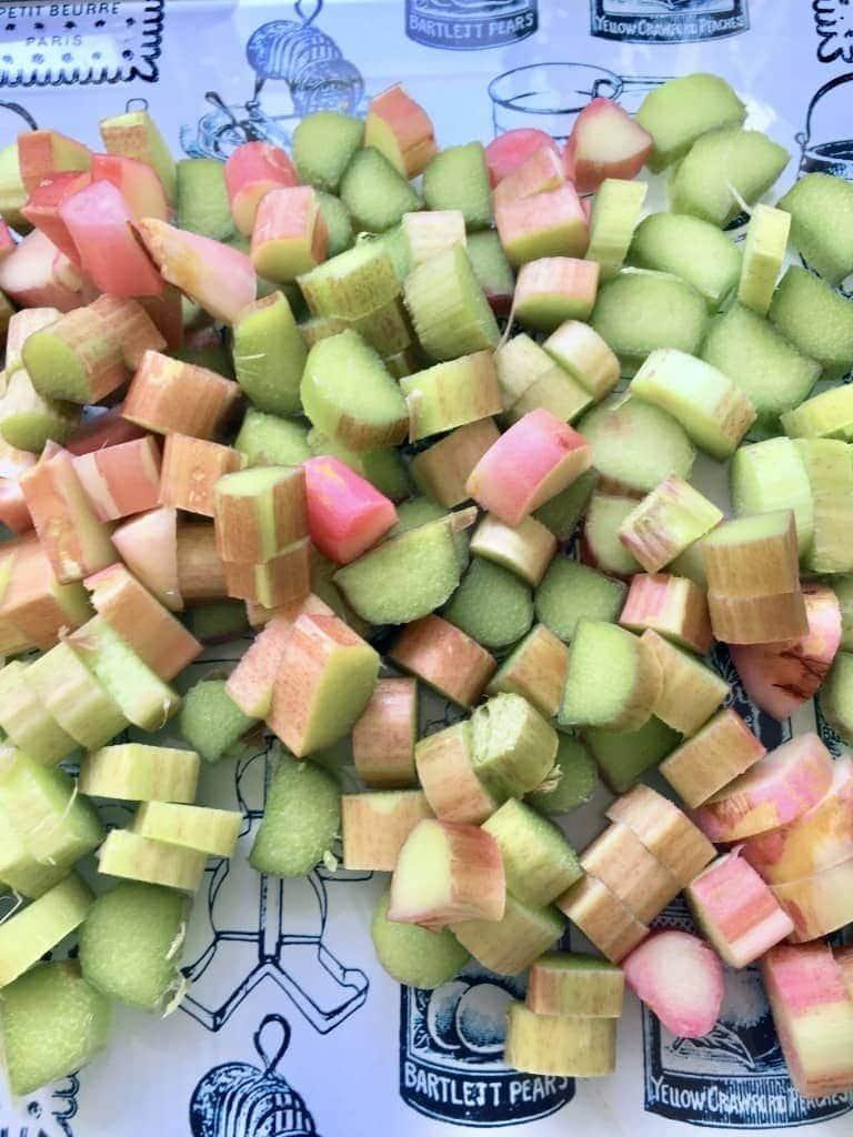 Chopped rhubarb pieces.