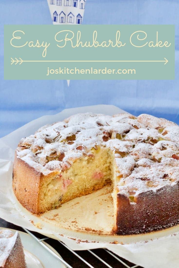 Slightly tangy & not overly sweet, light and fluffy Easy Rhubarb Cake with a hint of cinnamon! Perfect with a cup of tea or lashings of custard, you choose! Delicious and easy bake to make the most of seasonal rhubarb! #rhubarb #cake #dessert #rhubarbcake #easyrecipe #fruitybakes #seasonalbakes