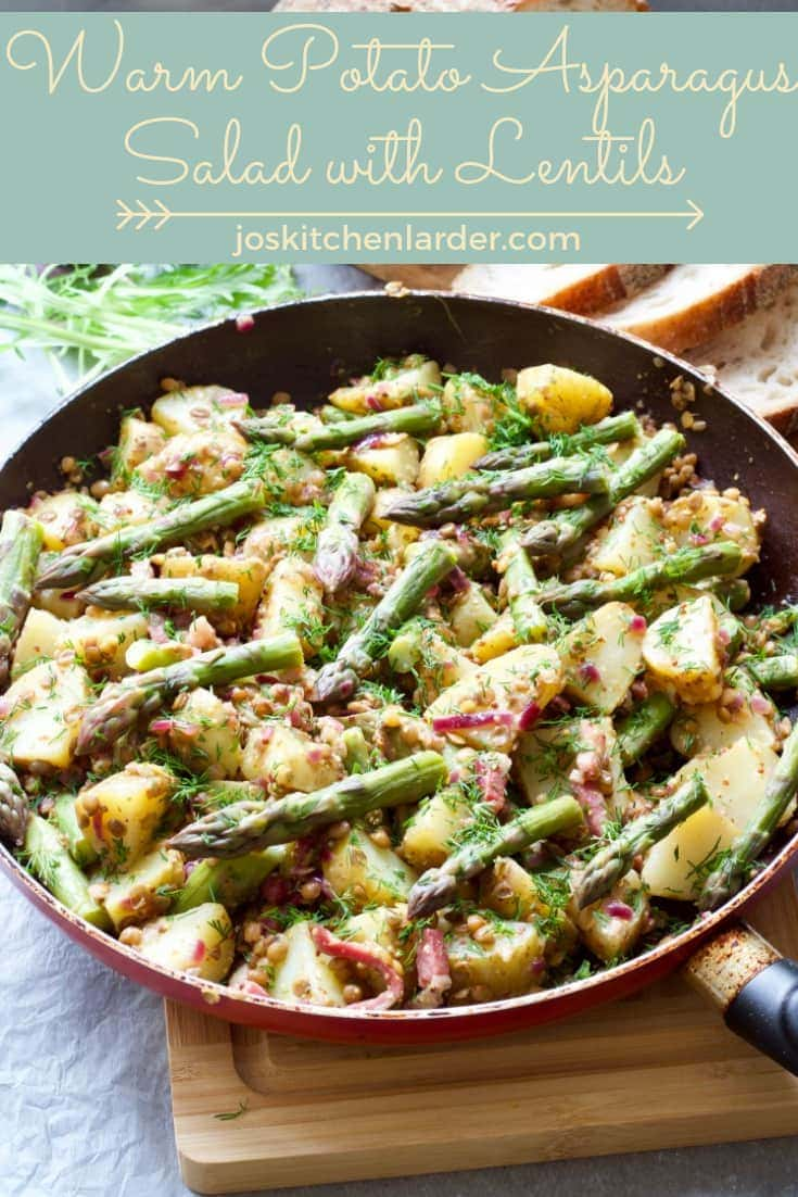 This beautifully seasonal Warm Potato Asparagus Salad with Lentils is substantial enough as a main meal & easily adaptable to suit meat eaters as well as vegetarians & vegans. Dressed with deliciously tangy mustard dressing it is filling and delicious!  #potatoasparagussalad #warmsalad #warmpotatosalad #lentilsalad #saladfordinner #mustarddressing #wholesomefood