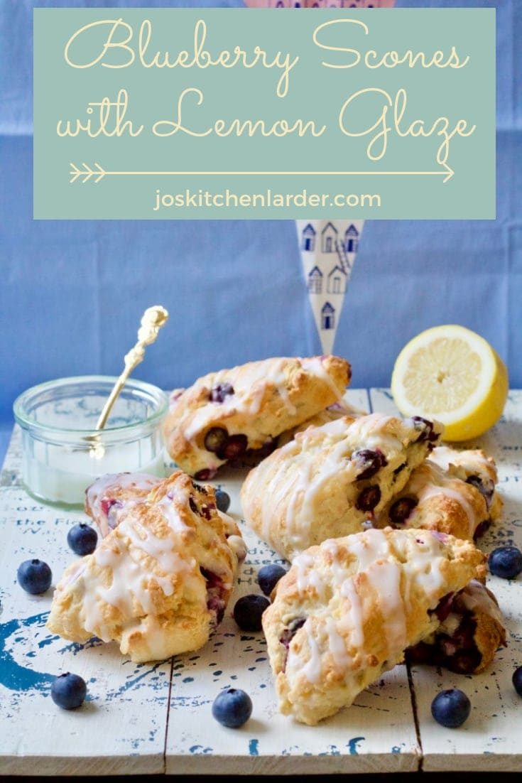 Blueberry Scones with Lemon Glaze (American style)