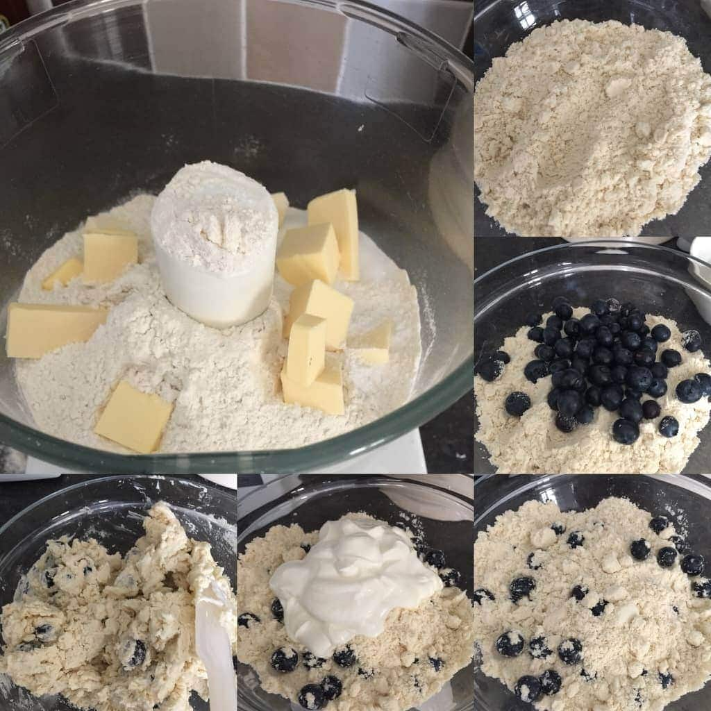Blueberry scones dough in the making.