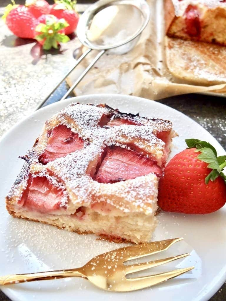 Slice of cake on a plate.