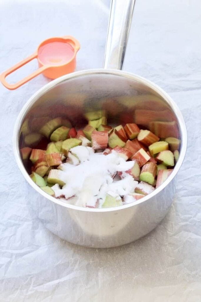 Rhubarb & sugar in a saucepan.