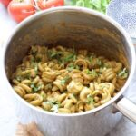 Roasted tomato & basil pasta in a pan.