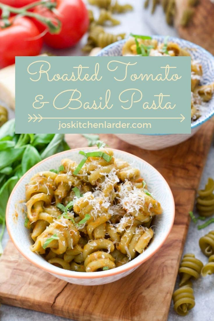 Easy & naturally vegan Roasted Tomato & Basil Pasta makes perfect midweek family dinner that celebrates tomatoes at the peak of their season. Ready in 30 minutes and loved by kids & adults alike this Summery pasta is bound to be a winner! #roastedtomatopasta #roastedtomatoandbasilpasta #pastadinner #midweekmeal #30minutemeal #familydinner #easyrecipe #tomatoandbasil #veganpasta #veganrecipe