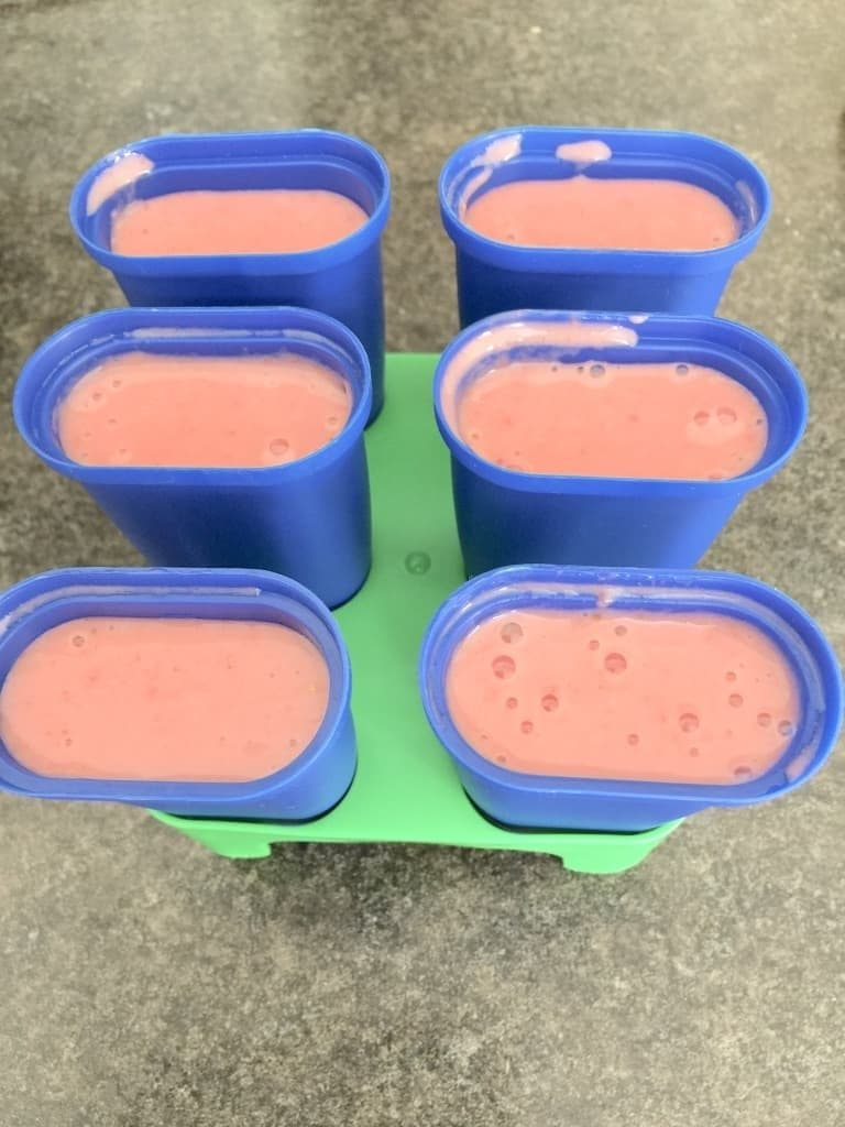 Ice lollies mixture in the open moulds.