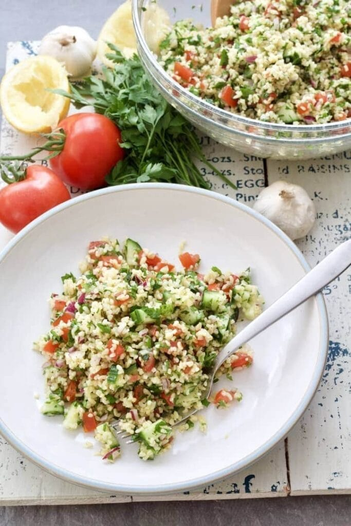 Portion of tabbouleh on a plate.
