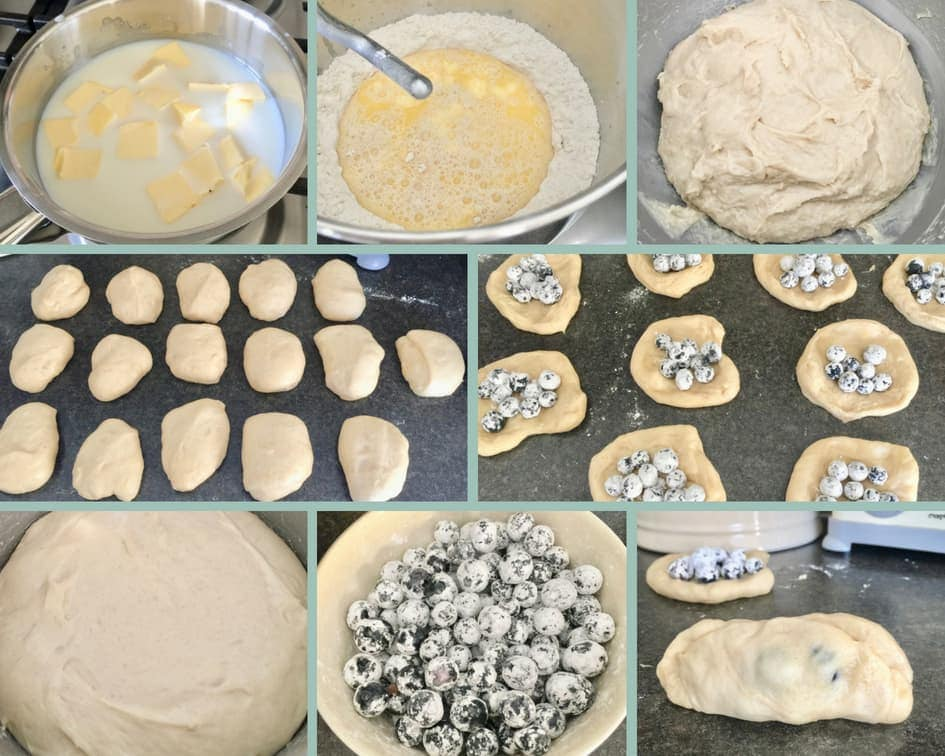 Collage showing step by step process of making blueberry buns.