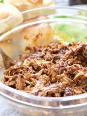 Bowl with bbq pulled pork.