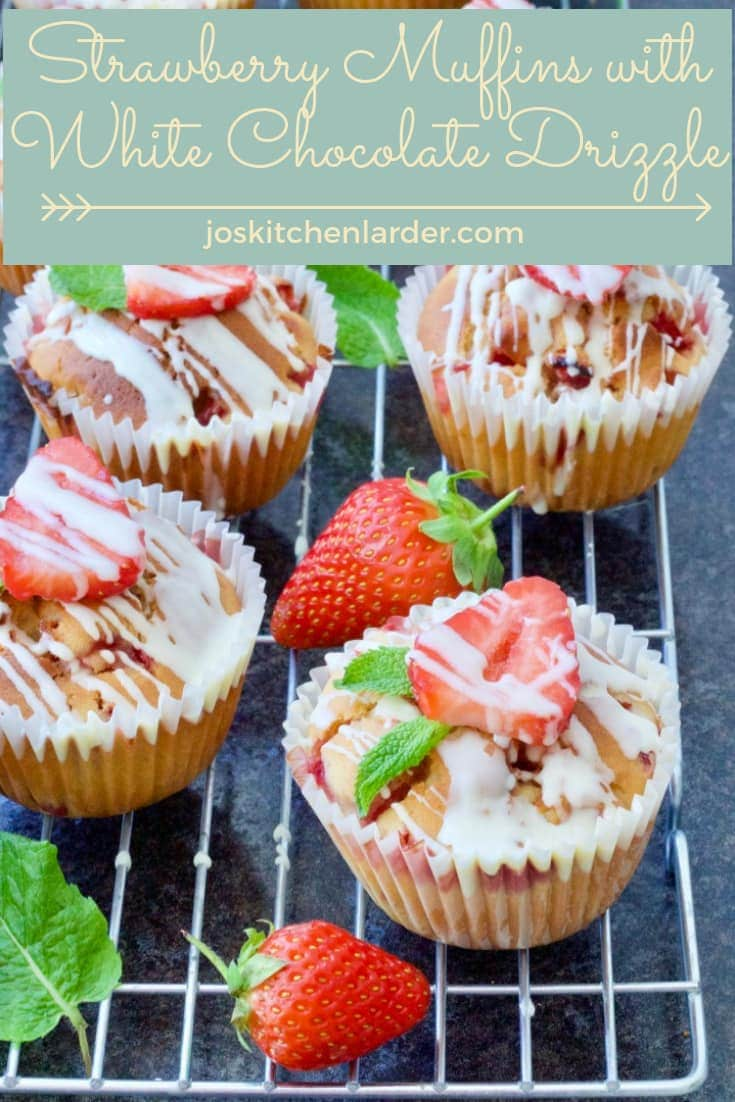Strawberry Muffins with White Chocolate Drizzle