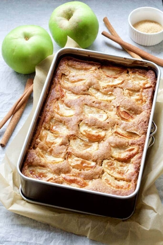 Dorset apple cake in a cake tin.