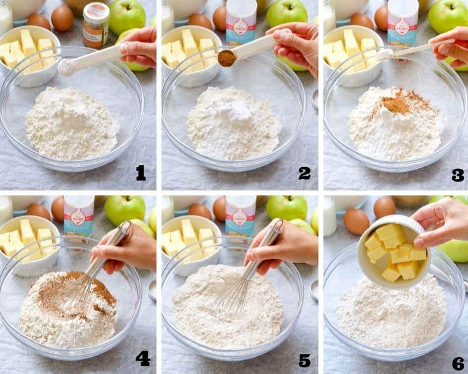 Collage of steps when making apple cake 1.
