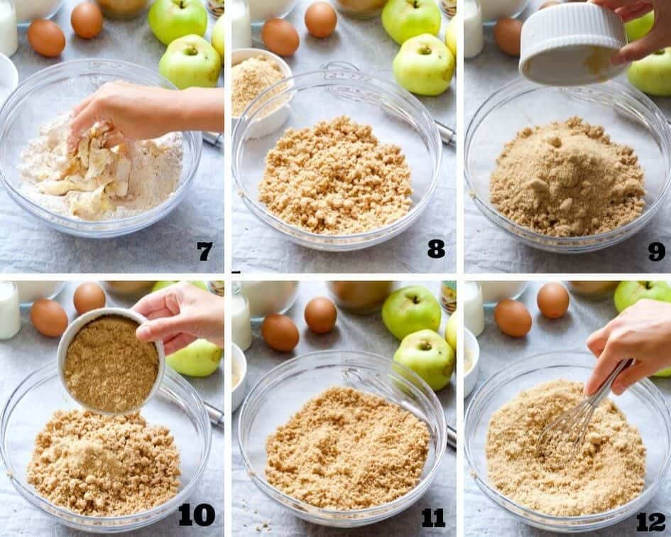 Collage of steps when making apple cake 2.