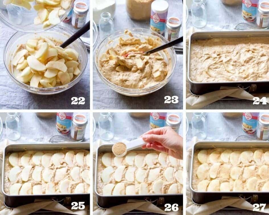 Collage of steps when making apple cake 5.