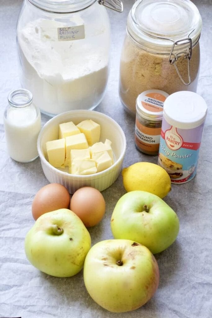 Ingredients for Dorset apple cake.